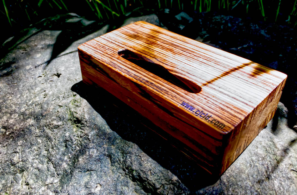 "Back side view of the handmade wooden iPhone stand and passive amplifier speaker ""CJ Monster Mouth"""