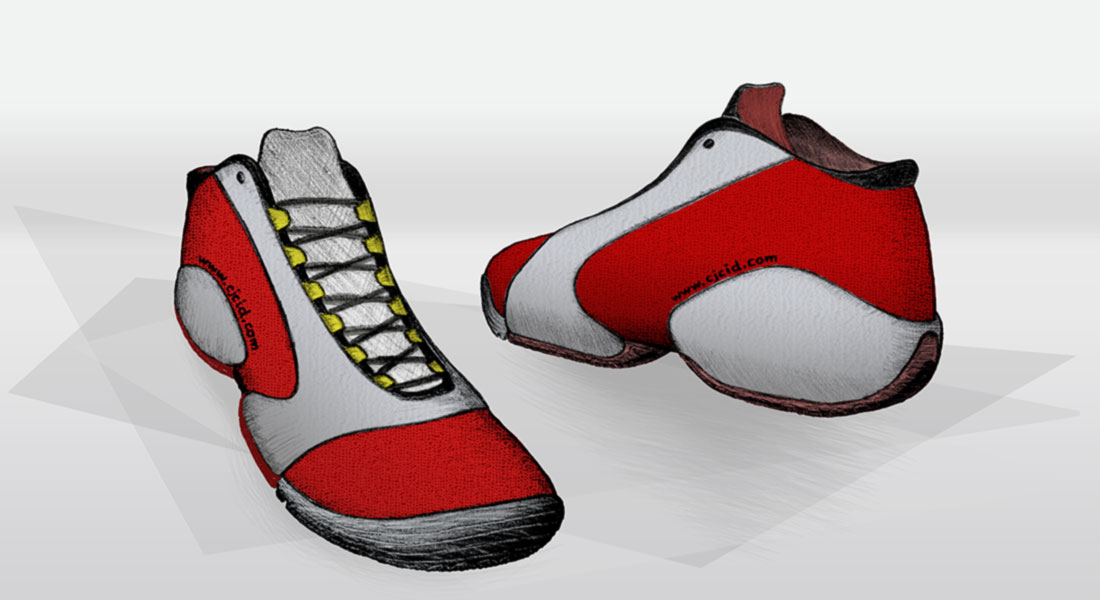 "Colored illustration of the basketball shoe ""CJ Rad GT"""